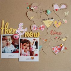 scrapbooking layout | then & now by kushi www.kkushi.com  #scrapbooking #scrapbookinglayout #12x12layout #scrap #kkushi #kKushiShop #scrapbookingsupplies