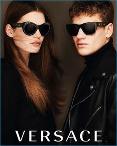 Models Sophie Rask and Matty Carrington front Versace's fall-winter 2016 eyewear campaign.