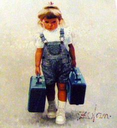 """Little Traveler"", by American artist - Donald Zolan (1937-2009), Oil on canvas."