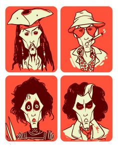 Johnny Depp as Jack Sparrow, Duke, Edward Scissorhands and Sweeney Todd. Favorite character??