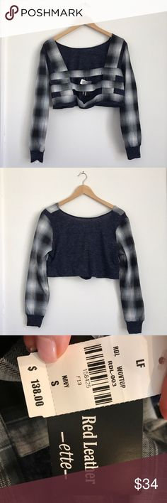 NWT LF Plaid Woven Crop Top LF Red Leather Elite Crop Top with blue plaid sweater mix.  Open ladder back. LF Tops Crop Tops