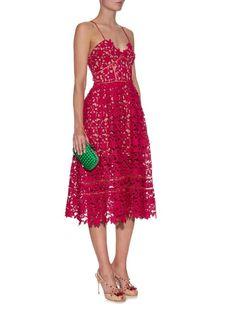 Self-Portrait Azaelea floral-lace midi dress
