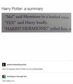 Harry Potter in a nutshell. No but seriously this is it Harry Potter Jokes, Harry Potter Fandom, Harry Potter Tumblr Funny, Sassy Harry Potter, Hogwarts Tumblr, Harry Potter Beasts, Scorpius And Rose, No Muggles, Harry Potter Universal