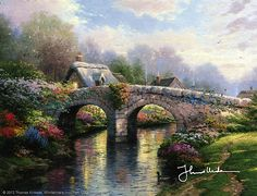 Thomas Kinkade - Blossom Bridge  1995