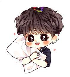 SarangInGayo💜 Jungkook Fanart, Vkook Fanart, Jungkook Cute, Me Anime, Fanarts Anime, Anime Chibi, Bts Chibi, Kpop Drawings, Bts Aesthetic Pictures