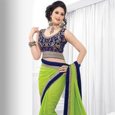 Neon Green Faux Georgette Saree with Blouse