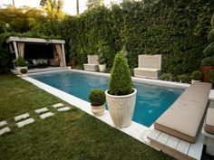 Host Jamie Durie of The Outdoor Room transforms the swimming pool area at the home of Anne Heche and James Tupper from an overly sunny and hot yard into a shaded garden fit for Hollywood entertaining. A wall of hedges provides shade and privacy, while the pool features a lounge-like gazebo on one end and a hot tub on the other.