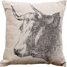 "Poor Chic Pillow ""Bull""    $26.00 @ http://www.antiquefarmhouse.com/current-sale-events/poor-chic.html"