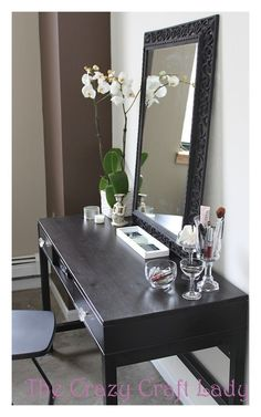 Bathroom vanity idea – Ikea desk …way cheaper than the one I was going to buy!
