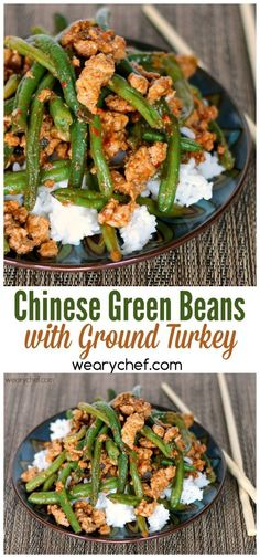 You'll love this quick, easy, and healthy Chinese green bean stir fry with ground turkey. You'll love this quick, easy, and healthy Chinese green bean stir fry with ground turkey. Chinese Green Beans, Chinese Greens, Turkey And Green Beans, Meal Prep Green Beans, Stir Fry Green Beans, Spicy Green Beans, Healthy Turkey Recipes, Easy Ground Turkey Recipes, Recipes With Ground Turkey