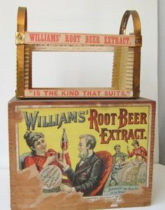 CA 1900 William's Root Beer Extract Litho Labeled Wooden Box w Display Rack | eBay