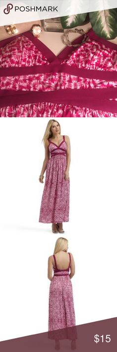 NWT Sophia Vergara Maxidress Pink maxi dress with white and pink pattern fabric and pink banding trim- built in bra- deep V neckline with empire waist- new with the tags still on- this is an amazing dress that really flatters any figure- it was too low cut for me but I know a lot of people who like that neckline and it also looks great with a bandeau underneath if the neckline is concerning- it would look great with a dangling necklace with some glitz or a white statement necklace Dresses…