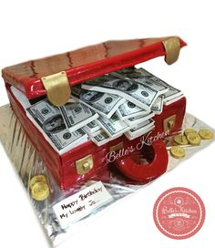 Money Briefcase Red Velvet Cake By Belle's Kitchen, To Order Contact Our WA: 081294055786, Line: Bellekitchen, Also Be Sure To Follow Our Instagram @belle_kitchen