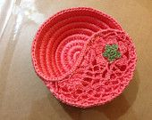 Unique hand-crochet Yin Yang design dish made of coral colored cotton crochet thread Gift for the lady of the house