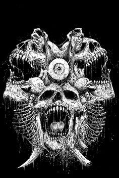 by Mark Riddick Dark Gothic, Gothic Art, Arte Horror, Horror Art, Dark Fantasy Art, Dark Art, Totenkopf Tattoos, Satanic Art, Evil Art