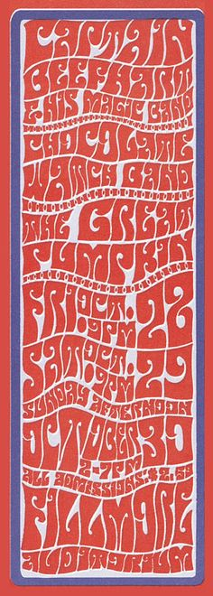 Rock concert promotional postcard, 1966 (detail). Psychedelic lettering at its finest, by Wes Wilson.