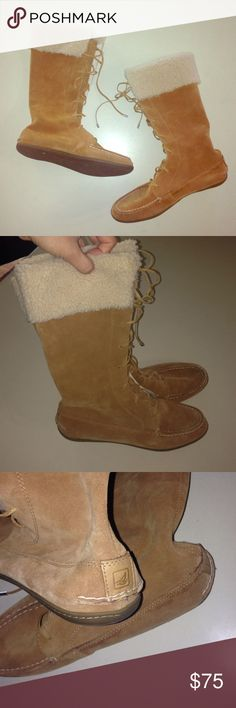 Sperry Top-Sider Moccasin Suede Boots Worn one time! Brand new! Beautiful/ Trendy suede Sperry boots. They tie up the front and have Sperry logo in the back. Sperry Top-Sider Shoes Winter & Rain Boots