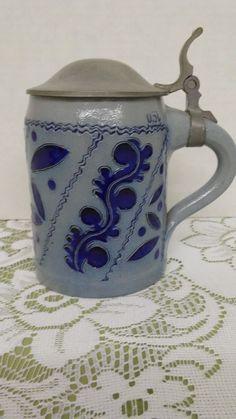 Vintage M Schilz 0.5L Cobalt Blue floral salt glazed mug & pewter hinged lid #MSchilz