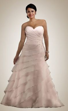 Plus Size Strapless Tiered Floor Length BBW Wedding Dress