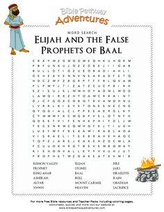 Bible Word Search: Elijah and the False Prophets of Baal