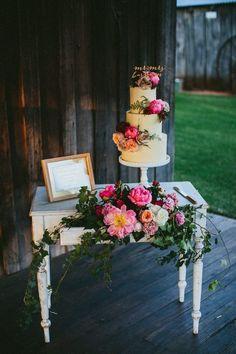Cake Table Flowers Peony Peonies Sign Whimsical Barn Wedding Australia throughthewoodswe... #weddingflowers