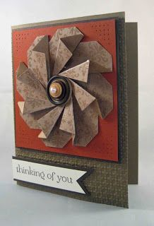 handmade greeting card from Southern Inkerbelles: Tag Fold Flower ...  earth tones ... great depth in the folded flower ... Stampin' Up!