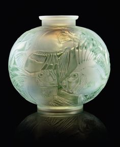 POISSON VASE, NO. 925 designed 1921, cased opalescent with green stain engraved R. Lalique France and moulded R. LALIQUE 24 cm. high