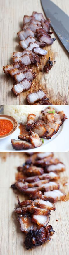 Chinese BBQ pork belly (char siu), your favorite Chinatown dish is super-easy to make at home with this no-fuss recipe! http://rasamalaysia.com