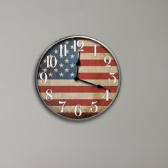"12"" Round American Flag Wall Clock"