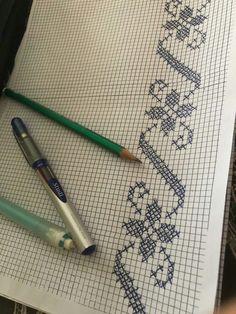 arts and crafts Cross Stitch Borders, Cross Stitch Flowers, Cross Stitch Designs, Cross Stitching, Filet Crochet, Crochet Stitches, Beaded Embroidery, Cross Stitch Embroidery, Crochet Flower Tutorial