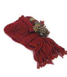 Red Knit Scarf, Hand Knit Scarf, Winter Scarf, Women Scarf, Fashion Scarf, Knit Scarf, Gift Ideas, Cranberry Scarf, Fiber Art, - pinned by pin4etsy.com