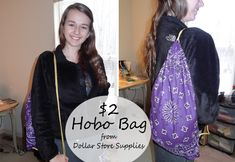 dollar store bandana hobo bag - by Crafty Leslie, featured on Dollar Store Crafts