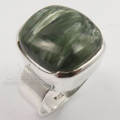 925 Solid Sterling Silver Natural SERAPHINITE Gemstone Nice Ring Size US 9 1/4 #SunriseJewellers #Fashion