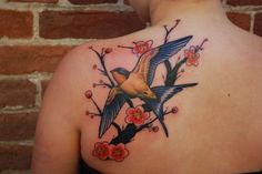 Tattoos - Swallow with Cherry Blossom Tree - 84242