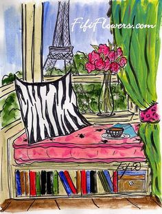 Reading Nook in Paris by Fifi Flowers on Etsy and on www.FifiFlowers.com #Paris