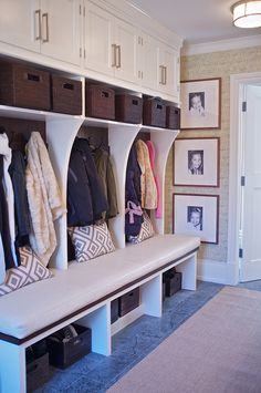 mudroom center unit - lower with drawers, curved dividers, upper cabs no baskets and bench.