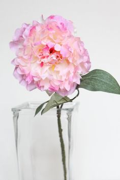 Silk Flower on Stem  Light Pink and Cream Peony on by simplyserra, $4.75