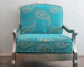 Large Moroccan paisley velvet silver leaf club chair
