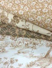 Vintage Toile Tonal Neutral 4 Fat Quarter Bundle Cotton Fabric Pack Quilting FQ