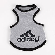 Commoditier Adidog Tank T-shirt Top Clothing for Dogs Medium Summer Dog Shirt Puppy Clothing for Boys (Grey, M) Commoditier