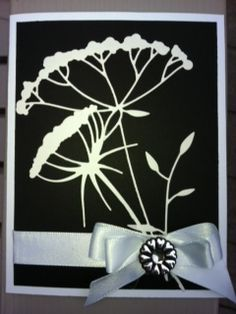 Black and white card using two dies from Memory Box - Dies-Kylie Stem #98590, Graceful Silhouette #98604