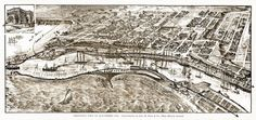 """Bird's-eye view of San Pedro, California compliments of Geo. H. Peck & Co., real estate agents. Includes ill. of """"Bank of San Pedro."""" 1905 Year: 1905 City: San Pedro County: Los Angeles State: Califor"""