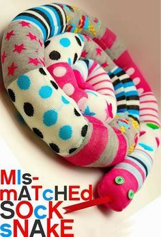 Mis-matched sock snake