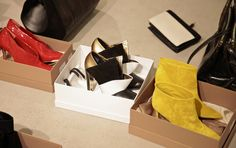 #Gianvito Rossi red pumps, #Vionnet black/white/gold shoes and #Gianvito Rossi yellow suede ankle boots. all from www.wunderl.com White And Gold Shoes, Black White Gold, Red Pumps, Suede Ankle Boots, Paper Shopping Bag, Yellow, Bags, Handbags, Red Wedges