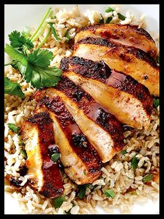 Orange Chipotle Chicken with Cilantro Rice. Yum!!