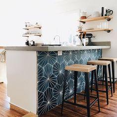 Cement Tile Shop - Encaustic Cement Tile Starburst Hex Navy