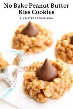 No Bake Peanut Butter Kiss Cookies Recipe