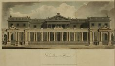 1811 exterior view of Carlton House from Ackermann's Repository. Other Regency England landmarks from Ackermann's can be found at http://www.ekduncan.com/2011/10/regency-england-landmarks-from.html
