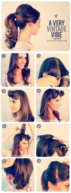 Vintage Style Pony Tail. I'm really liking this! Shows length of hair; off the face & neck (can sweat when I dance). Can wear it in a half up/down style for wedding then switch to this for reception? http://thebeautydepartment.com/2012/09/1950s-inspired-ponytail/