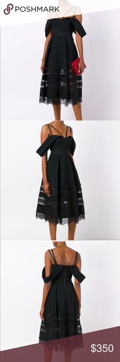 Self-Portrait Black Cold Shoulder Midi Dress Beautiful LBD with amazing details.  Flattering fit and flare, Cold shoulder, grosgrain ribbon straps and peekaboo and eyelash lace hem.  NWT. Stated size US 4 but runs a bit small.  Could fit large 2 or small 4 Self-Portrait Dresses Midi